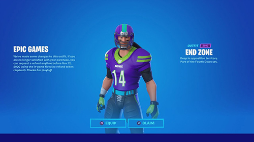 Fortnite NFL skin Refund